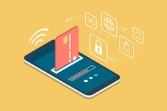 E-payments and transactions on mobile devices. Safe and easy e-payments on smartphone using financial apps: the payment is being processed using a credit card Royalty Free Stock Images