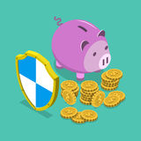 Safe financial savings isometric vector concept. Royalty Free Stock Photo