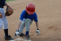 Safe on First. Base Stock Image