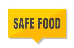 Safe food price tag. Safe food yellow square price tag royalty free illustration