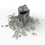 Safe full of 100 dollar notes. 3D rendering of a safe full of hundred dollar notes Stock Photo