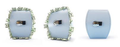 Safe full of dollars on a white background Stock Photos