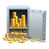 Safe full of gold coins money Stock Photography