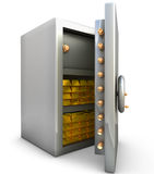 Safe with gold bar. On white background Stock Photo