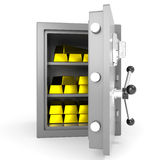 Safe with gold bars. Stock Photography