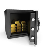 Safe with gold bars. Royalty Free Stock Photos
