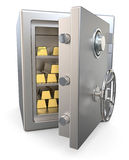 Safe with gold bars Stock Images