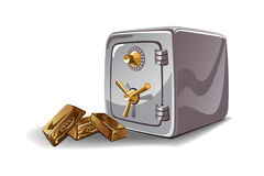 Safe and gold bars vector illustration Royalty Free Stock Photos