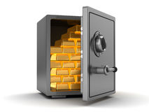Safe with gold. 3d illustration of steel safe full of gold Royalty Free Stock Photo