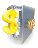 Safe with gold dollar sign. Illustration of a safe with gold dollar sign coming out if it Stock Photo