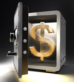 Safe with gold dollar symbol. Opened safe with gold dollar symbol isolated on black background. 3d render Stock Photo