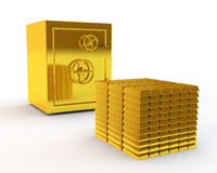 Safe and gold ingots Stock Photo