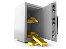 Safe with gold ingots. On white background Royalty Free Stock Photo