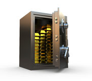 Safe with gold inside. Open safe with gold bars inside Stock Images
