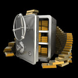 Safe with gold isolated. On black background High resolution 3D Royalty Free Stock Photo