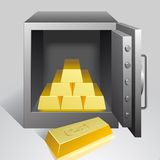 Safe with gold Stock Photo