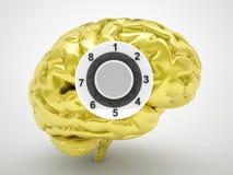 Safe golden brain. Finance and business concept 3d render Stock Images