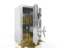 Safe with golden coins Royalty Free Stock Photos