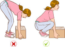 Safe handling of heavy items, woman Stock Images