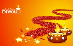 Safe and Happy Diwali. Illustration of burning firecracker and diya for happy and safe Diwali stock illustration