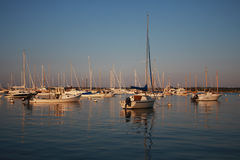 Safe at Harbor. Sailboats and fishing boats in protected harbor in Martha's Vineyard at dusk stock photography