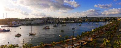 Safe Harbour in Sliema on the island of Malta Europe. The bay at Sliema Creek on the island of Malta Stock Photo