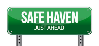Safe Haven Green Road Sign Stock Photo