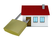 Safe house. One 3d render of a house with a padlock Stock Photography