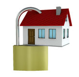 Safe house. One 3d render of a house with a padlock Royalty Free Stock Photos