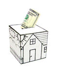 Safe house with drawn-five dollars deposited Stock Image