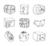 Safe icon,hand drawn vector illustration. Stock Photography