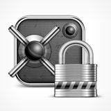 Safe icon & padlock Royalty Free Stock Images