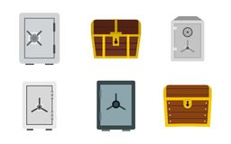 Safe icon set, flat style. Safe icon set. Flat set of safe vector icons for web design isolated on white background Stock Photography