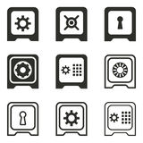 Safe icon set. Safe vector icons set. Black illustration isolated on white background for graphic and web design stock illustration