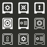 Safe icon set. Safe vector icons set. White illustration isolated on black background for graphic and web design Stock Photography