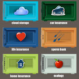 Safe icons can be used as insurance. Royalty Free Stock Photos