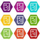 Safe icons set 9 vector. Safe icons 9 set coloful isolated on white for web Royalty Free Stock Photography