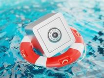Safe innerhalb der Rettungsring-Einsparungen retten Illustration 3d Lizenzfreie Stockfotos