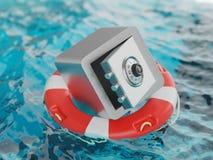 Safe innerhalb der Rettungsring-Einsparungen retten Illustration des Konzept-3d Stockbild