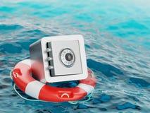 Safe innerhalb der Rettungsring-Einsparungen retten Illustration des Konzept-3d Lizenzfreies Stockbild