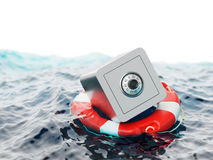 Safe Inside of Lifebuoy Savings Rescue 3d Illustration. Safe Inside of Lifebuoy Savings Rescue Concept 3d Illustration Stock Image