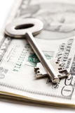Safe key with money. The safe key with money Stock Images