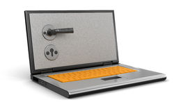 Safe Laptop (clipping path included) Stock Photos