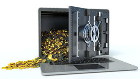 Safe laptop and gold on white background. online bank Royalty Free Stock Photo