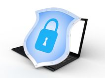 Safe laptop on white background, 3D images Stock Photography