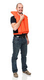Safe life. Man with Personal flotation device stock images