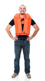 Safe life. Man with Personal flotation device royalty free stock photography