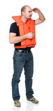 Safe life. Man with Personal flotation device royalty free stock images