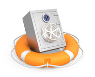 Safe in a lifebuoy. Safe in a yellow lifebuoy. Saving money concept Royalty Free Stock Photography