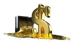 Safe and liquid gold. Gold rises dollar symbol. path included. Royalty Free Stock Photos